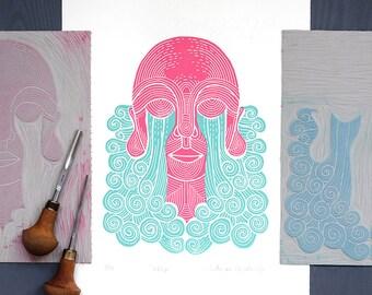 Linocut print: Weep