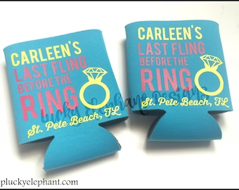 Last Fling Before the Ring Can Cooler - Bachelorette Party Can Sleeve - Personalized Custom Coolie - Last Fling Beer - 13 Colors Available!
