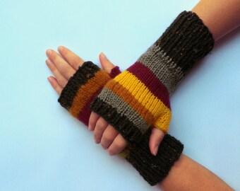 Knit fingerless gloves arm warmers fingerless mittens knit wrist warmers hand warmers striped yellow brown grey black