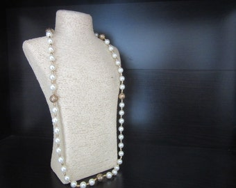 Long Faux Pearl Necklace with Golden Filigree Piercework Beads 30 - 33 Inches