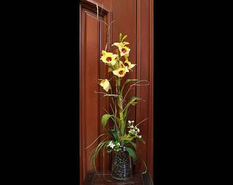 Silk Floral Arrangement - Yellow Orchids in Glass Vase with Rocks (S17-45)