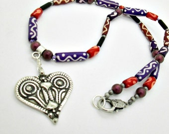African Tribal Heart Necklace, Ethnic Beaded Necklace, African Heart Necklace