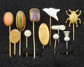 Lot of 11 Victorian / Deco / Vintage Stick Pins ~ Lot 1412