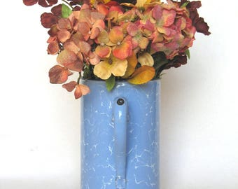 Vintage French Enamelware Irrigator from the 1930s, in a gentle bluish coloring