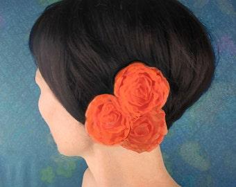 Tangerine Floral Hair Clip