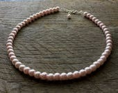 Pink Pearl Necklace Blush Bridal Necklace One Single Strand Simple Pearl Necklace on Silver or Gold Chain