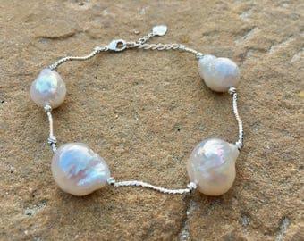 White baroque pearl statement bracelet - Large white pearl bracelet - wedding jewelry- statement pearl bracelet