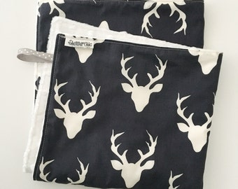 18 x 18 Lovey/Security Blanket...Navy Deer/Bucks with Minky...Can be Personalized ...Quick Ship!...Shower Chic