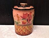 Rare Vintage Pink Hawaii Aloha Horner Toffee Tin Box, 1950s Mid Century, Pineapple, Hula Girls, Surfing, Hawaiian Islands, Retro