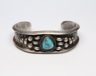 Navajo Sandcast Silver and Turquoise Cuff - Morenci - Outstanding Quality
