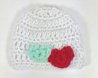 baby hat, crochet baby hat, premie hat, white hat, hat with heart, crochet premie hat