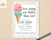 Twins Baby Shower Invitation, Printable, Two is Better Than One, Digital Download _1299