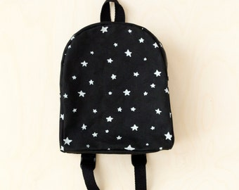 MADE TO ORDER, Customizable, Toddler Backpack, Hand Stamped, Silver Stars, Monochrome, Kids Backpack
