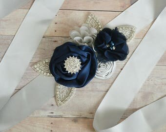 Wedding sash, Flower Girl Sash, Ribbon Sash, Bridal Sash, Wedding Shower Sash, Bridesmaid Sash Bachelorette silver grey navy blue