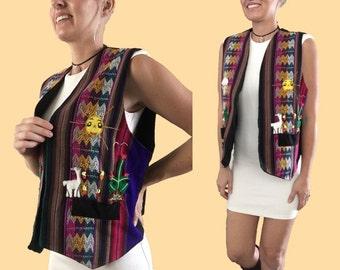 Cactus Embroidered Vest/ Boho Chic Vest/ Aztec Vest/ Hand Embroidered Vest/ Smiling Sunshine/ Striped Vest/ Unique Vest/ Aztec Top