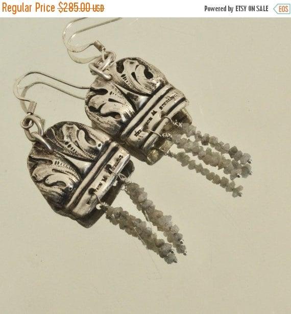 SALE 40% OFF Antique Tiffany Baroque  Repoussé Victorian Sterling Silver Earrings 925 Rare Art Nouveau  .925 Natural Diamonds Gemstone Drop