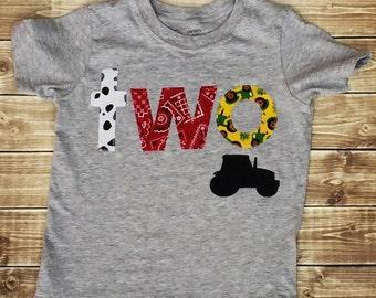 Farm, Tractor, Birthday, Two,Boy,Shirt,Photo Prop,Birthday Shirt,Ready To Ship
