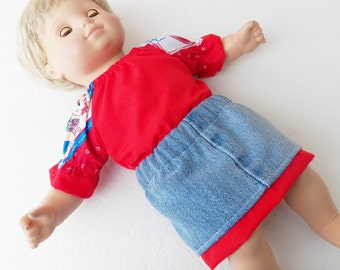"""bitty baby clothes, doll girl or 15"""" twin, blouse skirt, red blue white, peasant blouse , denim jean, american made by adorabledolldesigns"""