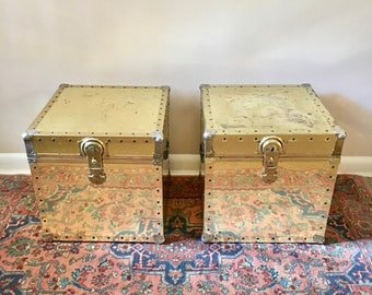 vintage brass trunk square side table 1 available