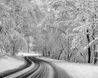 Snowy Road Print, Tree Photography, Michigan UP, Fine Art Photography, White Home Decor, Snow on the Trees, Print or Canvas Wrap