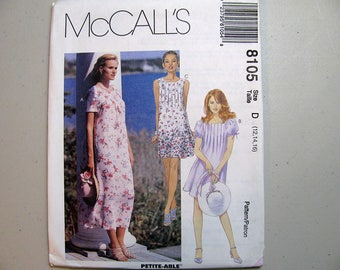 Vintage McCalls 8105 Dress Sewing Pattern - Never Used - Pullover Summer Dress Pattern with Front Tucks - Misses Size 12, 14, 16