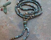 Beautiful frosted African turquoise gemstone mala necklace
