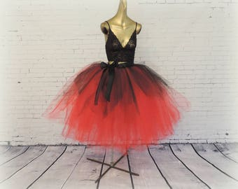 Red black tea length tutu goth gothic adult womens tutu engagement photo tutu sewn tutu steampunk tutu skirt Halloween tutu