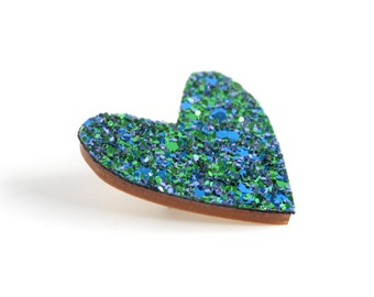 Mermaid Blue Glitter Heart Pin, Glitter Heart Brooch, Wooden Love Heart Brooch Pin, Valentines Pin