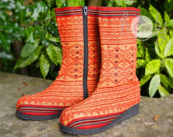 Women's Tribal Vegan Boots, Womens Boots, Tribal Boots, Vegan Boots, Hmong Boots, Hippie Boots, Boho Boots, Red Boots, Ethnic Boots, Boots