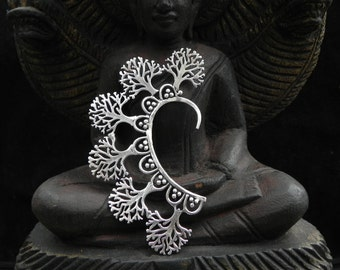 Silver Tree of Life Ear Cuff Tribal Native Silver Boho Festival Earring Jewelry
