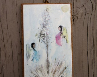 Vintage 1970s DeGrazia Christmas Angel Wall Hanging Plaque