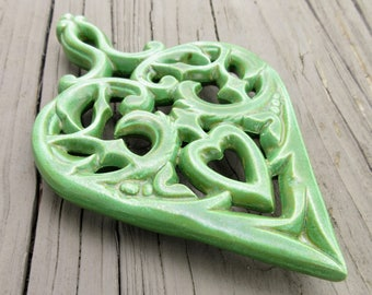 Vintage Mid Century Ceramic Trivet, Sweet Spring Green