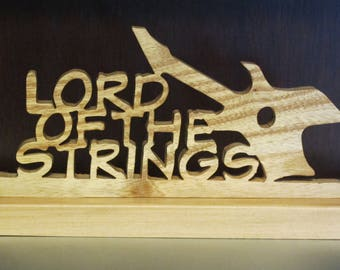 Lord of the Strings Guitar Tabletop Wood Sign