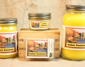 Indian Summer Scented Candle, Indian Summer Scented Wax Tarts, 26 oz, 12 oz, 4 oz Jar Candles or 3.5 Clam Shell Wax Melts