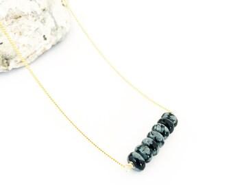Snowflake Obsidian Round Stone Bar Necklace