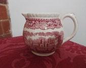 Small pretty Red transferware china Jug - Masons pottery England - 1920s