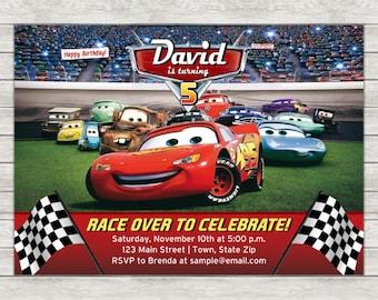 Disney Cars Birthday Invitation - Printable File or Printed Invitations