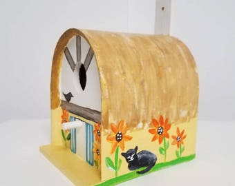 Hand painted whimsical Yellow and Orange wooden birdhouse cottage Van Gogh Sunflowers with cats and birds by Sally T. Crisp