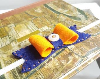 Navy and Orange Bow Headband