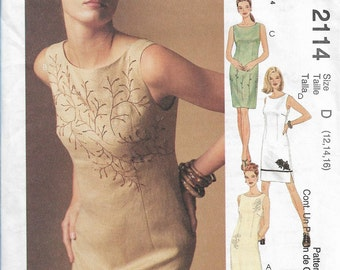 McCall's 2114 Size 12-14-16 Bust 34-36-38 Creative Clothing Misses' Lined Dress in Two Lengths Sewing Pattern 1999 Uncut