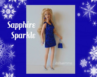 Barbie Fashionistas Doll Clothes  - Sexy Sapphire Sparkle DRESS, PURSE and Jewelry - Handmade Fashion by dolls4emma