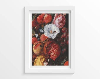 Floral Cross Stitch Kit, Festoon of Fruit and Flowers Cross Stitch, Embroidery Kit, Jan Davidsz. de Heem (HEEM01)