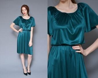 70s Satin Green Party Dress M Flutter Sleeve Hippie Dress Minimal Mod Forest Green Bow Tie Midi Holiday Dress