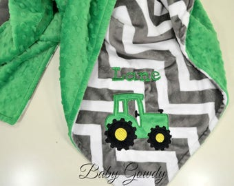 Minky Baby Blanket, Tractor Baby Blanket, Charcoal Chevron Minky, Kelly Green Minky Dimple Dot, Personalized Baby Blanket, Baby Shower Gift