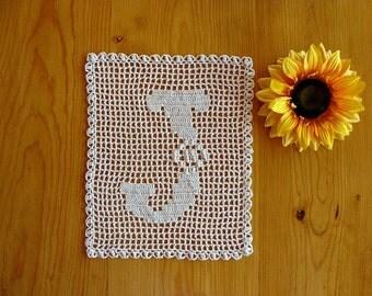 ALPHABET MAT ~ Personalized Gift ~ Letter J ~ Filet Doily ~ Monogram Doily