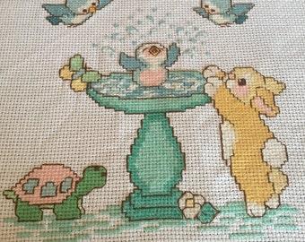 Bird Bath completed cross stitch
