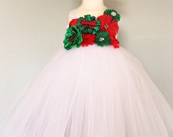 White, Red and Green Sparkle Christmas Tutu Dress - infant thru girls 10