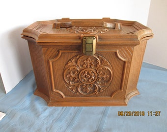 Vintage Plastic Sewing box with extra tray - Max Klein - Faux wood REDUCED
