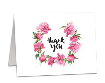 Thank You Cards - Peony Vintage Wreath Floral - Pack of 10 Wedding Birthday Baby Hen Party Favours TC02