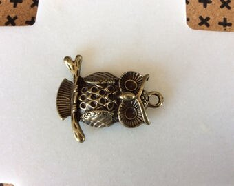 Antique Bronze Owl Charm Pendant